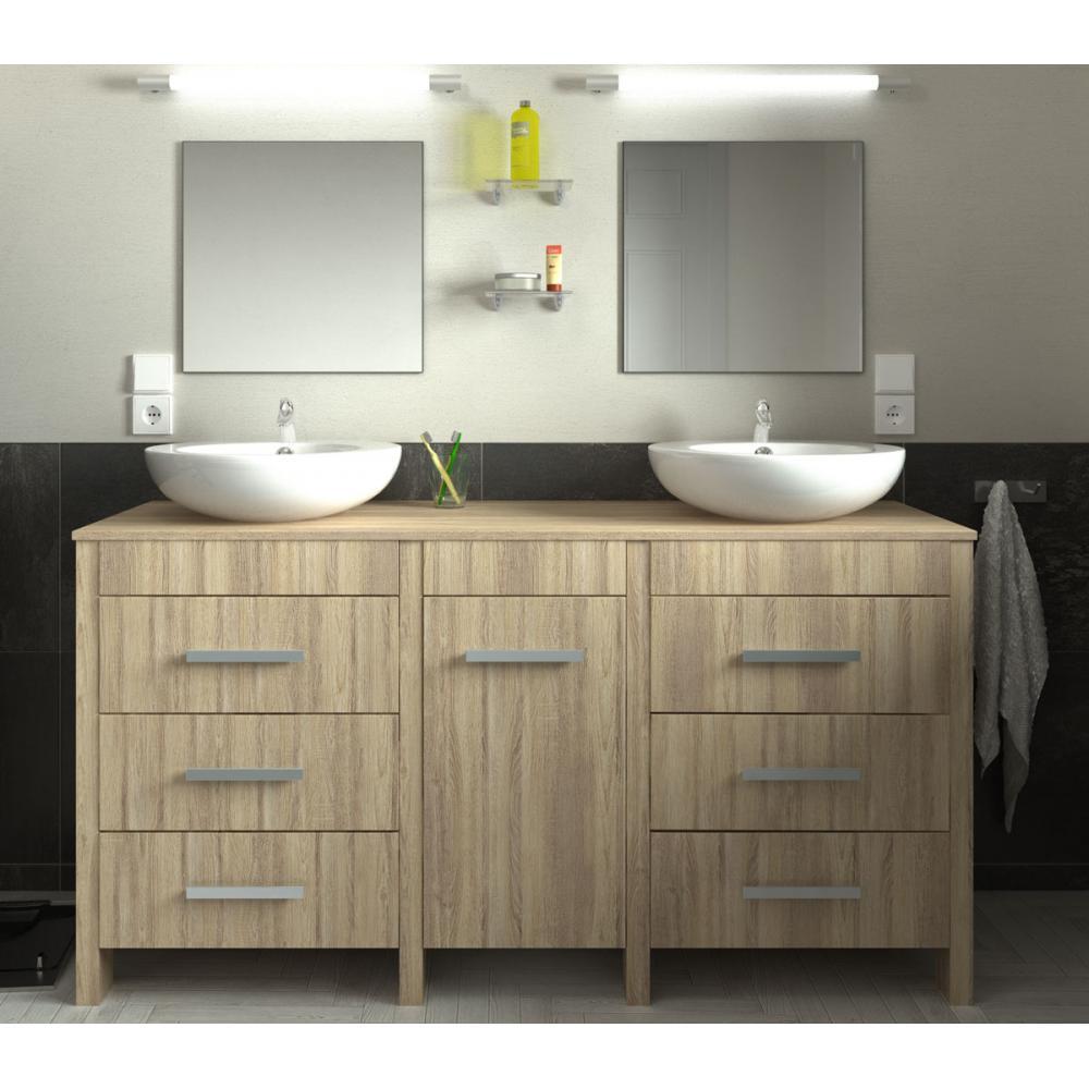 ensemble meuble de salle de bain 150cm roma couleur ch ne. Black Bedroom Furniture Sets. Home Design Ideas