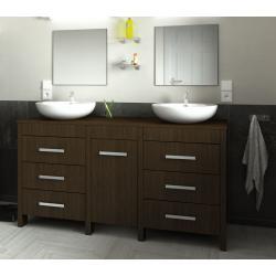 ensemble Meuble de salle de bain 150cm ROMA couleur wengé zébré
