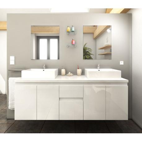 Meuble de salle de bain 150cm Cologne couleur Blanc 4 portes 2 tiroirs