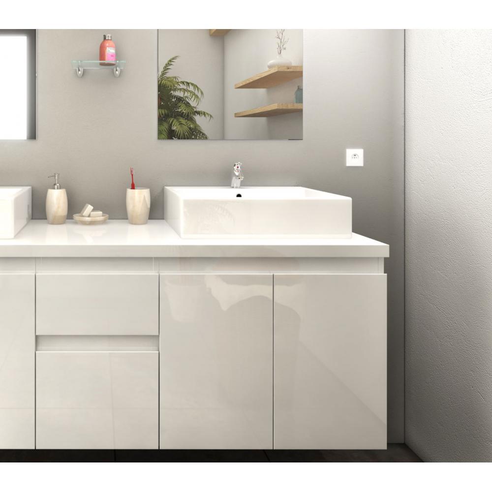 Meuble de salle de bain 150cm Cologne couleur Blanc 4 portes 2 ...