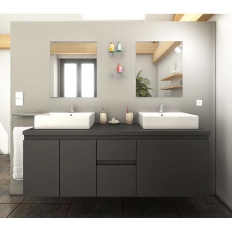 Meuble de salle de bain 150cm Cologne couleur Gris mat 4 portes 2 tiroirs