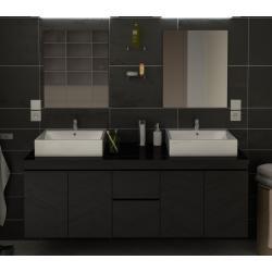 Ensemble meuble de salle de bain 150cm Cologne couleur noir 4 portes 2 tiroirs