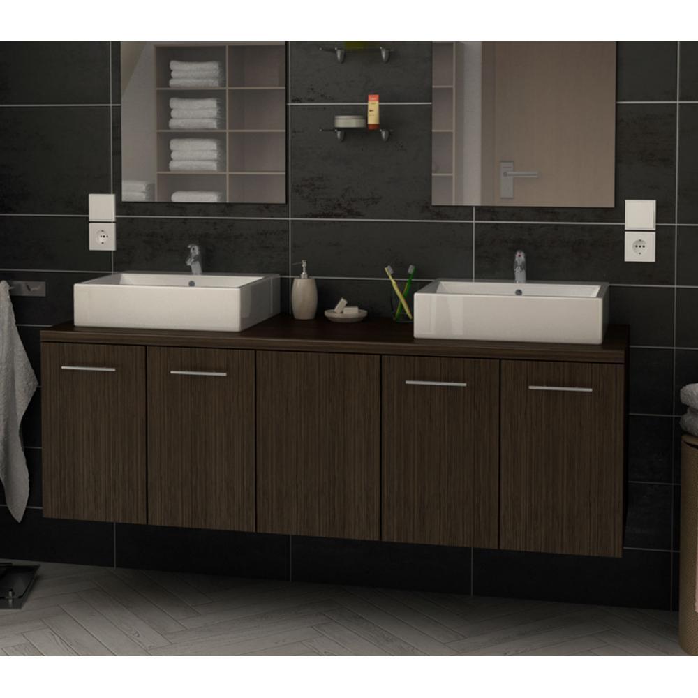 ensemble double vasque de salle de bain Juliana 150 CM couleur WENGE