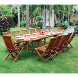 Salon de jardin en Teck huilé Sumatra- table 3 mètres 12 chaises pliantes