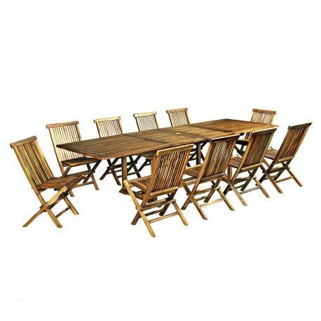 ensemble salon de jardin en teck huilé Bornéo 10 chaises pliantes