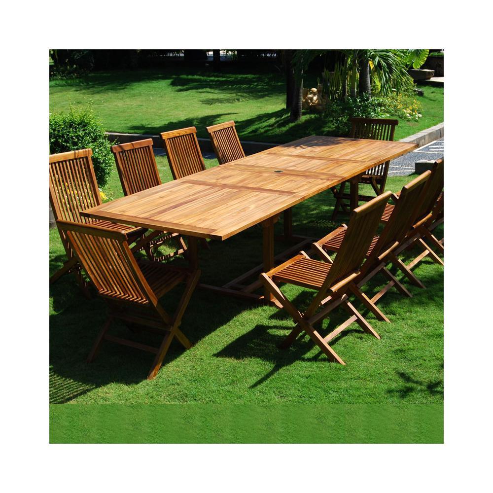ensemble salon de jardin en teck huilé Bornéo 10 chaises pliantes ...