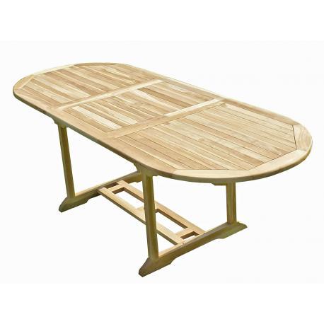 Table de jardin en Teck Massif finition brute 170-230 cm x 90 cm