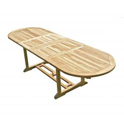 Table de jardin en Teck Massif finition brute 180-290 cm x 90 cm