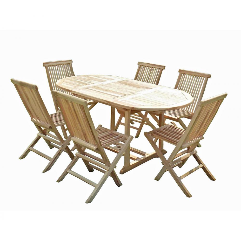salon de jardin 6 places en teck brut livr avec table et. Black Bedroom Furniture Sets. Home Design Ideas