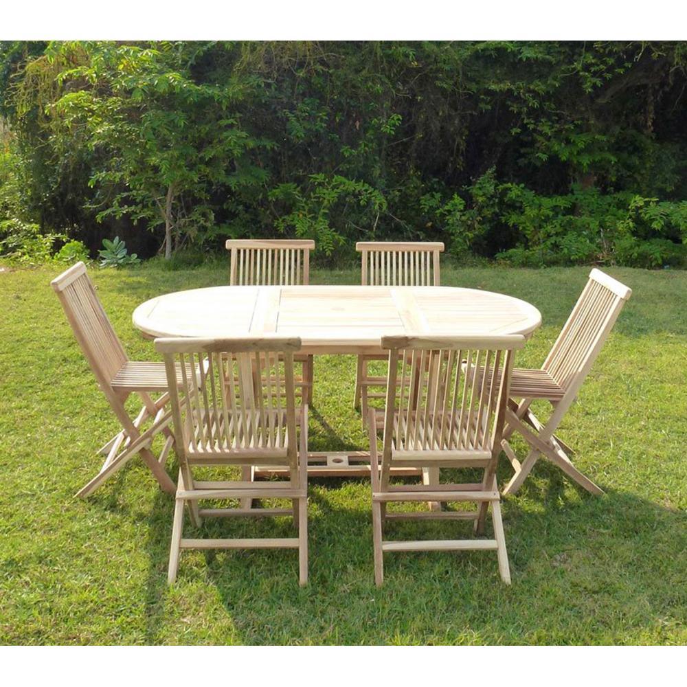 salon de jardin 6 places en teck brut, livré avec table et 6 chaises