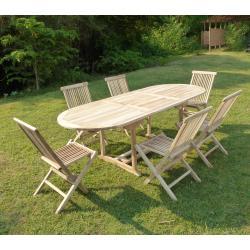 salon de jardin en bois de teck brut massif 6 places - table 170-230x90 cm