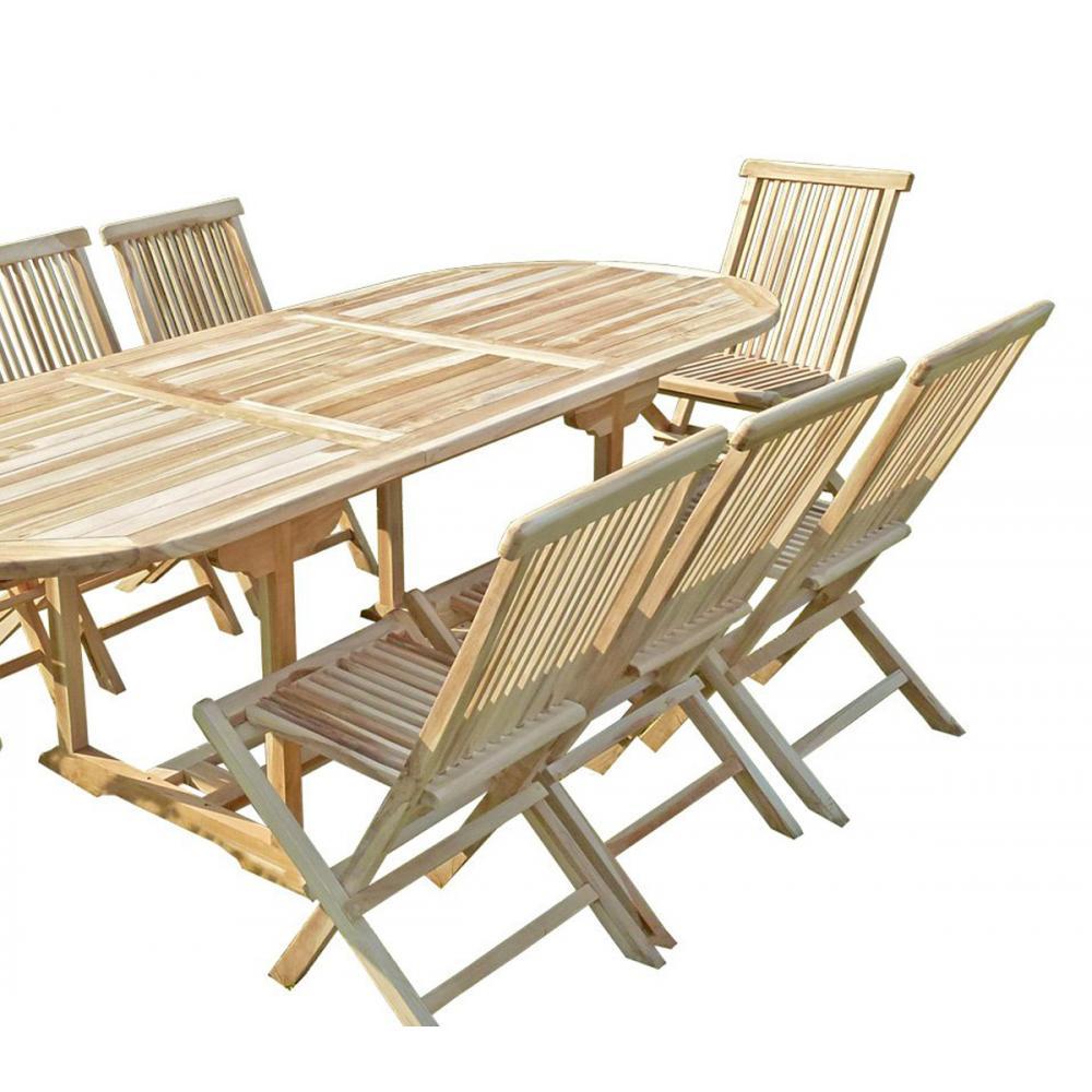 Bel ensemble meuble de jardin en bois de teck massif 8 places Mobilier de jardin en teck massif