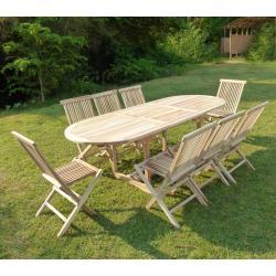 salon de jardin en bois de teck brut massif 8 places - table 170-230x90 cm