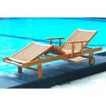 Lot de 2 bains de soleil en teck brut Massif - Transats chaises longues de jardin
