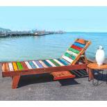 Chaise longue transat en bois de teck recyclé 200 X 66 X 35 CM