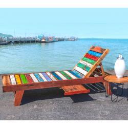 Bain de soleil en teck brut Massif - Transat chaise longue de jardin