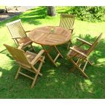 Ensemble meuble de jardin en Teck brut : grande Sunrise 100 cm 4 fauteuils