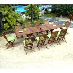 salon en teck de jardin 10 places Bornéo ensemble 10 chaises et coussins