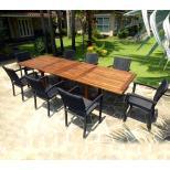 meuble de jardin ensemble en teck Bornéo 8 fauteuils empilables résine tressée