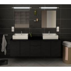 Meuble de salle de bain 150cm laqué gris Lisia avec vasques et miroirs