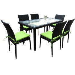 Salon de jardin en résine tressée rectangulaire x6 chaises