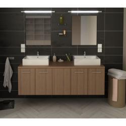 Ensemble salle de bain L 150 cm Juliana avec double vasque et miroirs