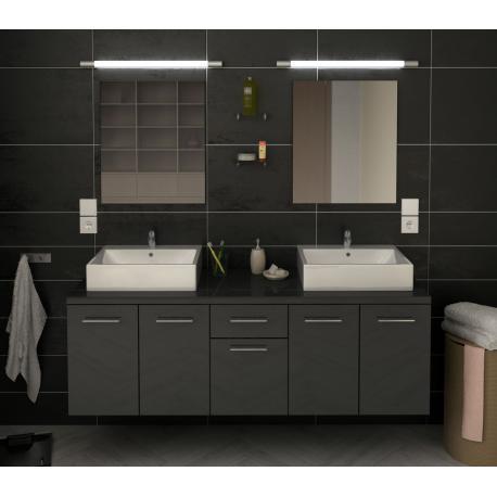 Ensemble de salle de bain meuble bas double vasques et miroirs
