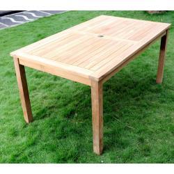Table de jardin en teck brut - Nias - 150 x 90 cm