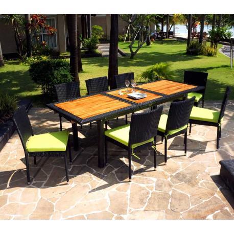 Mobilier de jardin en teck et résine - table de jardin + 10 chaises