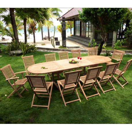 salon de jardin en teck brut, Sumatra Hanton 12 places