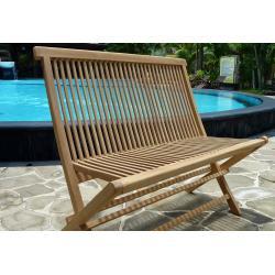 Double chaise de jardin en teck brut - banc pliant