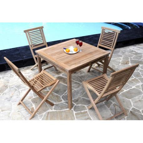 Salon de jardin en teck brut - 4 chaises de jardin hanton - mobilier exterieur
