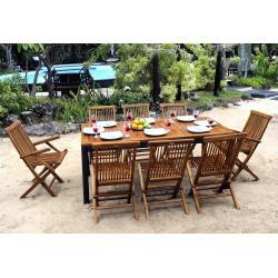 mobilier de jardin teck et résine 8 places - table en teck 180 cm