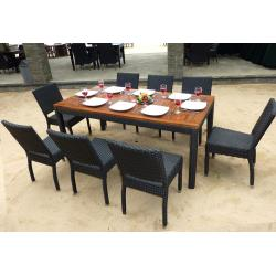 mobilier de jardin teck et résine 8 chaises de jardin en résine tressée