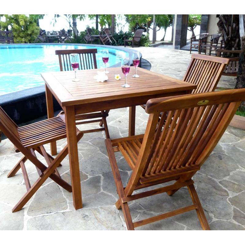 ensemble en teck à petit prix : salon table + 4 chaises