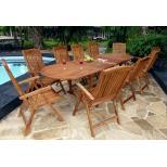 Salon de jardin - ensemble en teck table + 10 fauteuils inclinables