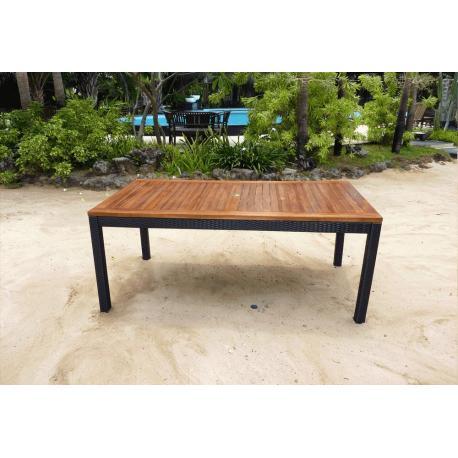 Table en teck et résine - modèle carré 180x90 cm