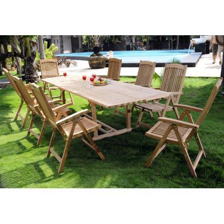 salon de jardin en teck brut : 8 fauteuils inclinables