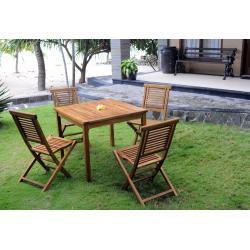 Salon de jardin table carré - 4 chaises pliantes en teck huilé