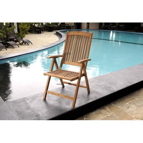 fauteuil en teck brut inclinable - fauteuil de jardin grand confort