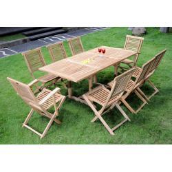 Mobilier de jardin en teck brut 8 places - ensemble Lombok Garuda