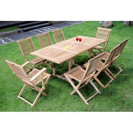 Mobilier de jardin en teck - ensemble Lombok 8 places - chaises de jardin en teck Hanton