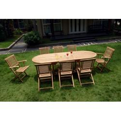 Salon de jardin - table et 8 assises en teck brut