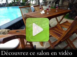 Table pliable de jardin en teck avec 4 chaises en teck : Horta