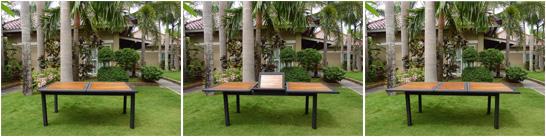 table de jardin en teck et resine
