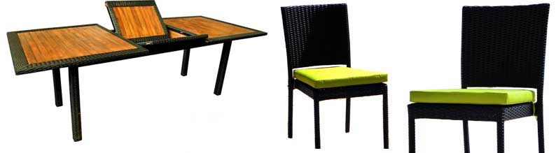salon Flores en teck et résine - chaises resine empilables