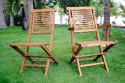 chaise et fauteuil en teck huilé