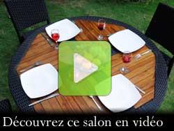 salon de jardin en teck et resine table ronde