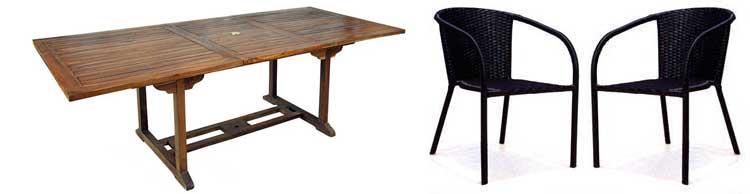 ensemble table en teck et fauteuils en resine tressee