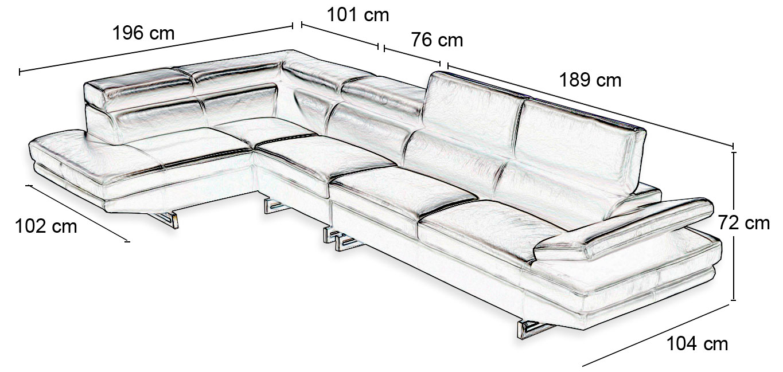 taille du canapé en cuir milano
